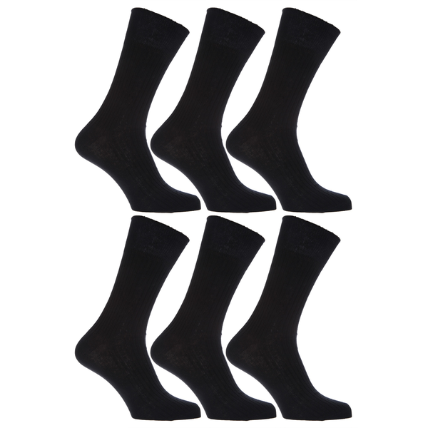 Unbranded Mens xl ribbed 100% cotton socks sizes 11 to 14 (pack of 6) desi