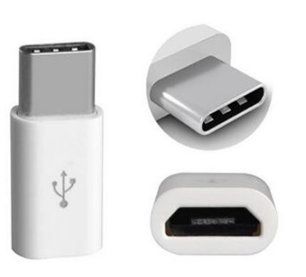 Adapter usb c till micro-usb vit 3-pack blister