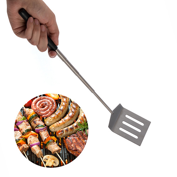 Mini extendable barbecue spatula and pan