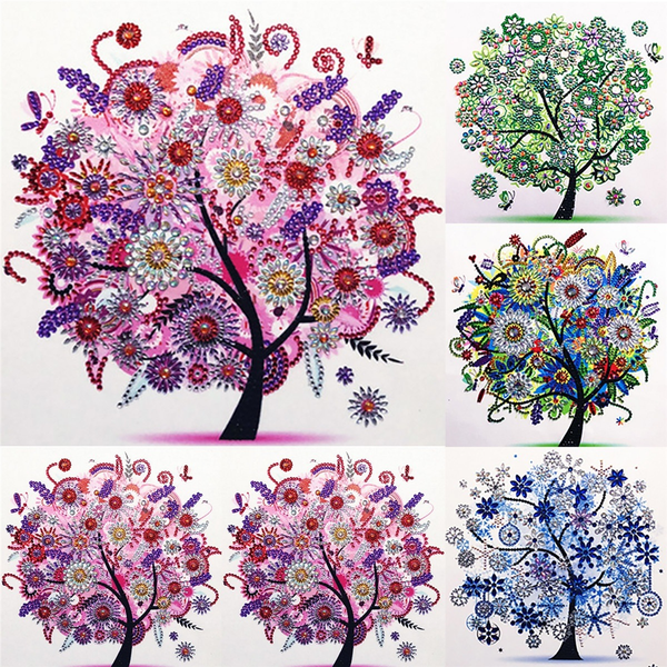 5d embroidery diamond beautiful flower vase living