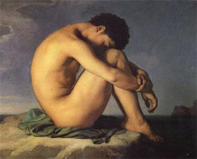Young Man Beside the Sea A study,Hippolyte Flandrin,50x40cm