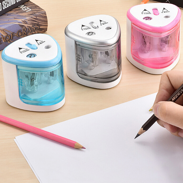 1 pc electric double orifice battery operated pencil sharpener p