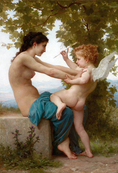 Girl Defending Herself,Adolphe William Bouguereau,60x40cm