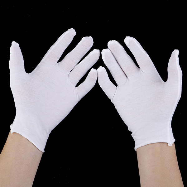 6 pairs white gloves cotton soft thin coin jewelry silver inspec
