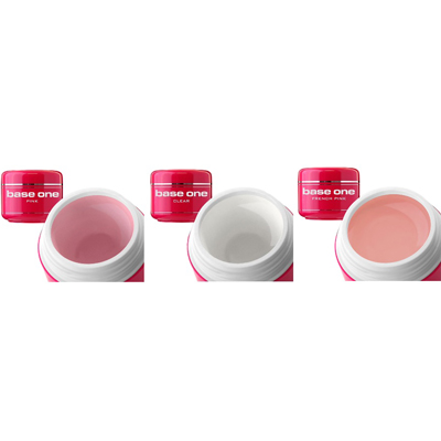 Base one – 3-pack uv-gelé – clear pink french pink – 15 gram