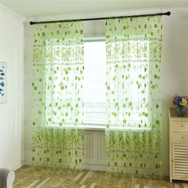 Curtain french window pastoral style printed gauze curtains