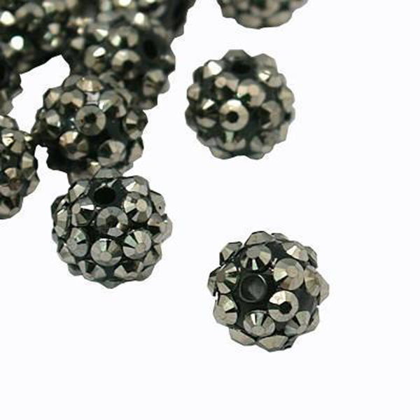 Strasspärlor resin 12 mm grå 10-pack