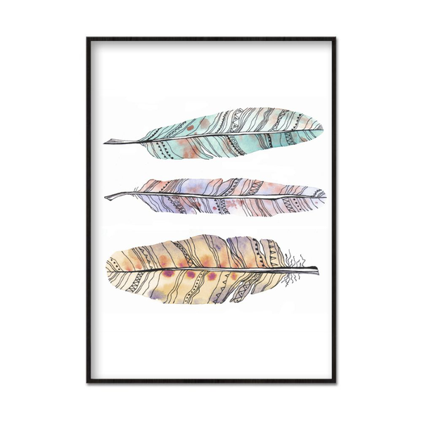 Poster A3 30x42cm Faded Feathers