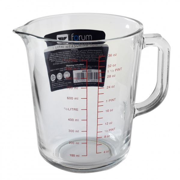 Forum Measuring Jug Glass Heat Ressistant 1 Litre or 1.1/2 Pint