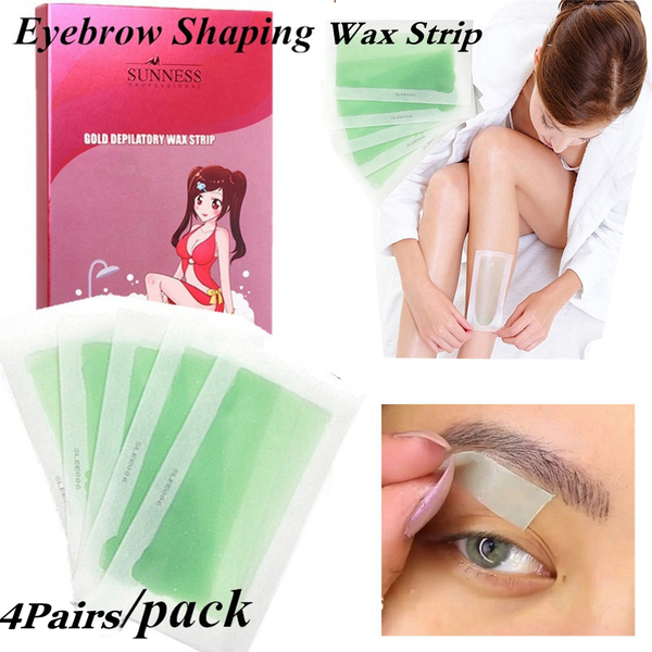 4 pairs/8 sides face body hair removal cold wax strips eyebrow