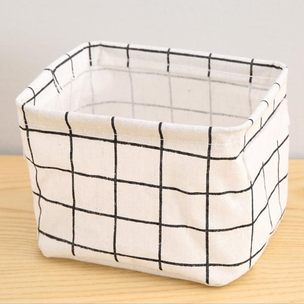 Folding square canvas storage baskets collapsible cosmetic box