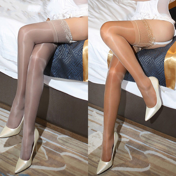 Women oil shiny glossy high stockings lace silicone stay up thig