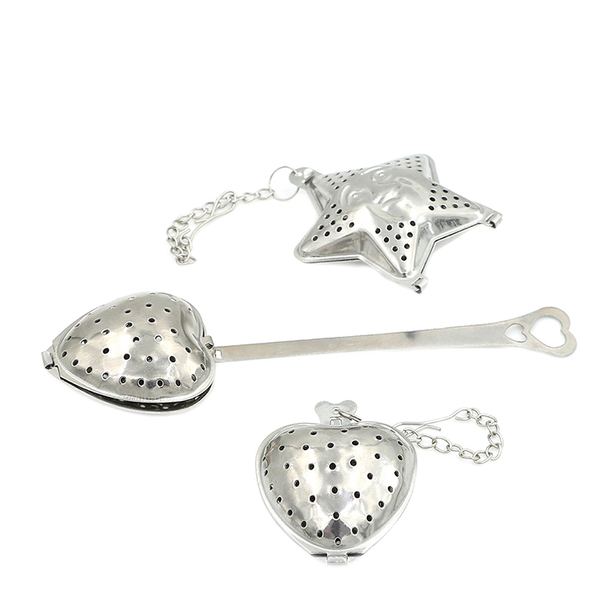 1 pc stainless steel practical heart shape tea infuser spoon str