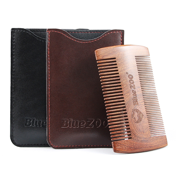 Gold black sandalwood double sided beard styling shaping comb to
