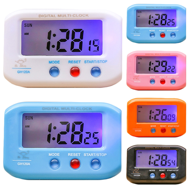 Portable electronic clock with luminous * date alarm