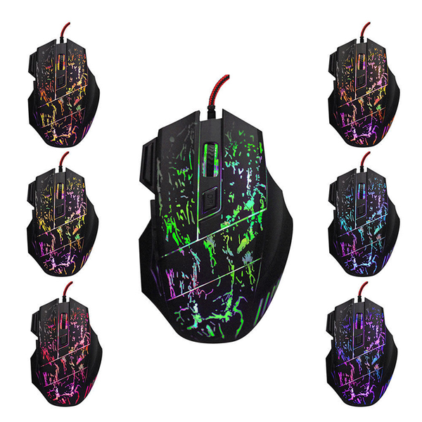 5500 dpi 7 button led optical usb wired gaming mouse mice for pr