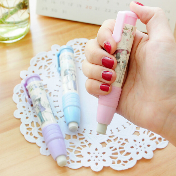 Fashion students pen shape eraser rubber stationery kid gift toy