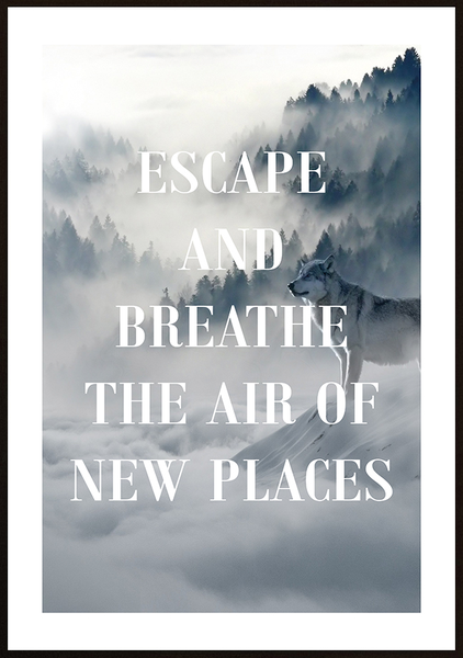 Poster - Escape Escape Escape and breathe No.2 50x70cm 8c9cf7