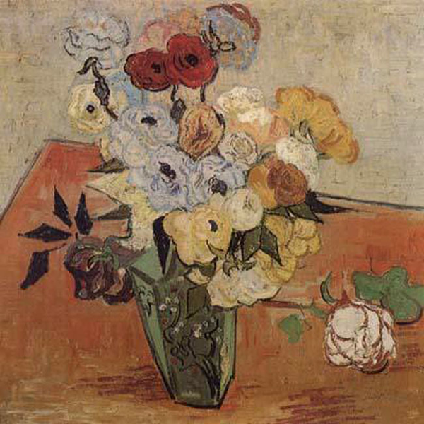 Roses and Anemones,Vincent Van Gogh,51.7x52cm
