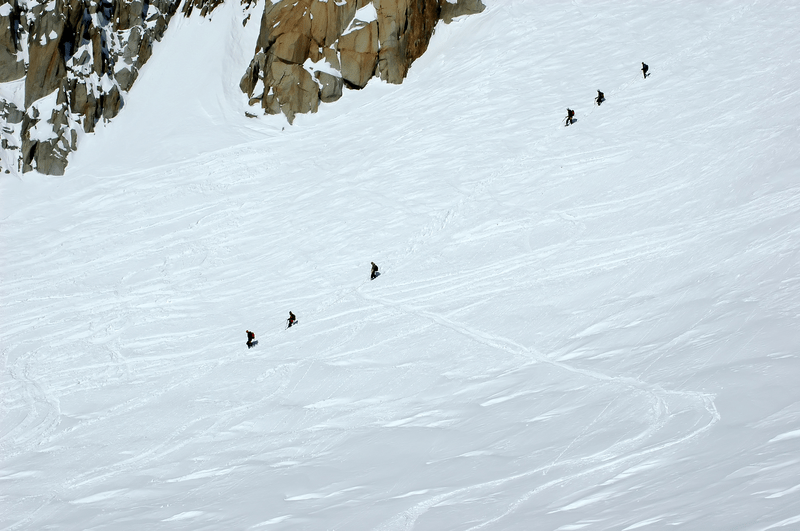 Poster  2 rope teams on Mont Blanc Format A4(21x30cm)