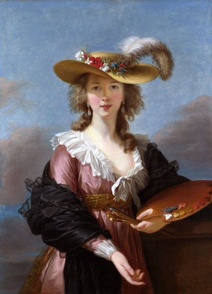 Self-Portrait in a Straw,Elisabeth-Louise Vigee-Lebrun,50x40cm