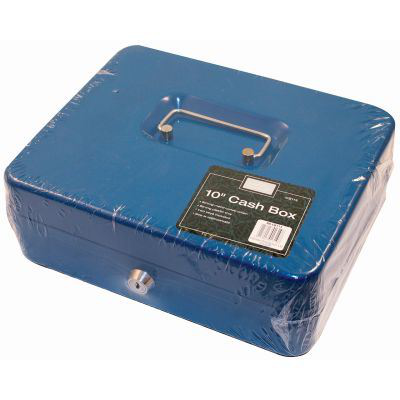 Cash box 10 inch metal with handle lock and keys