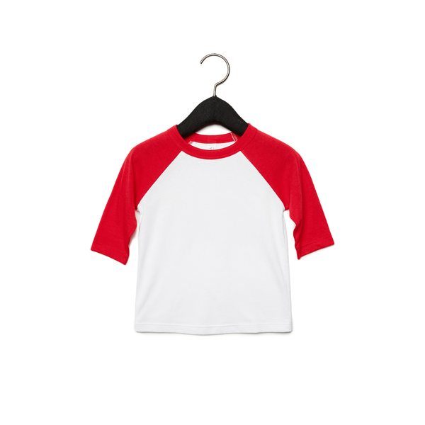 Unbranded Bella + canvas youths 3/4 sleeve baseball t-shirt white/red utpc
