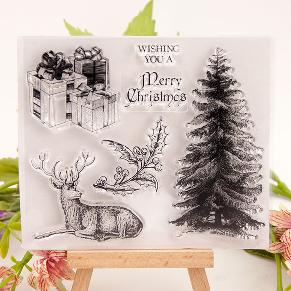 Merry christmas tree reindeer stamp clear silicone craft for diy