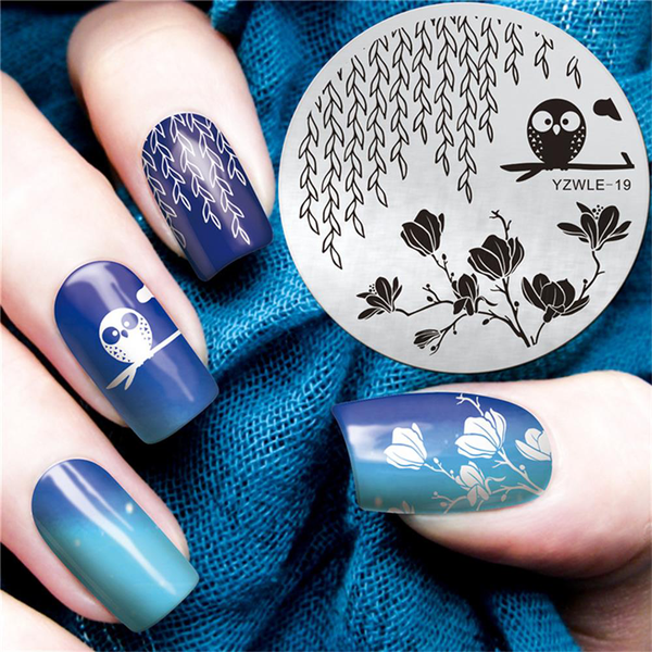 1pc round nail art template stamping plates stamp stencil