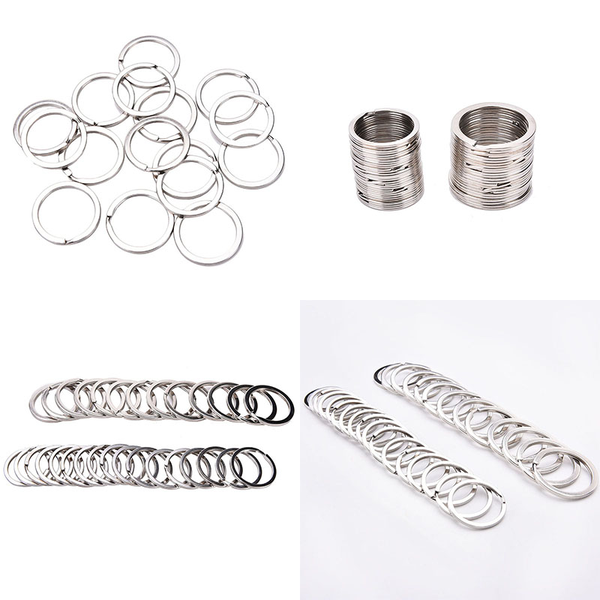 100 pcs/set silvery key chains stainless steel round circle diy