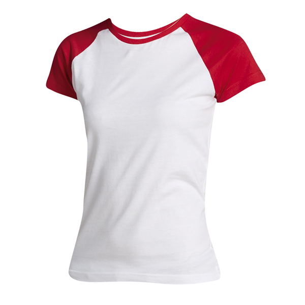 Unbranded Sols womens/ladies milky contrast short/sleeve t-shirt white/red