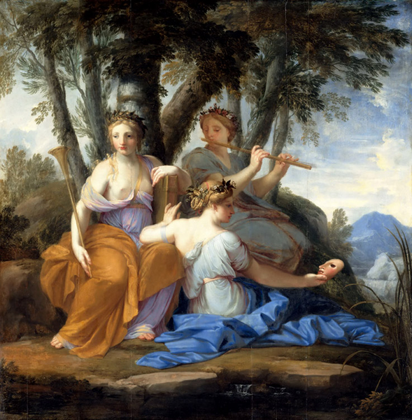 The Muses: Clio, Euterpe and Thalia,Eustache Le Sueur,50x50cm