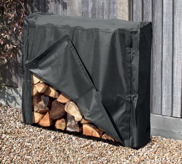 1m Log Store With Cover Outdoor Garden Fire Log Storage Unit
