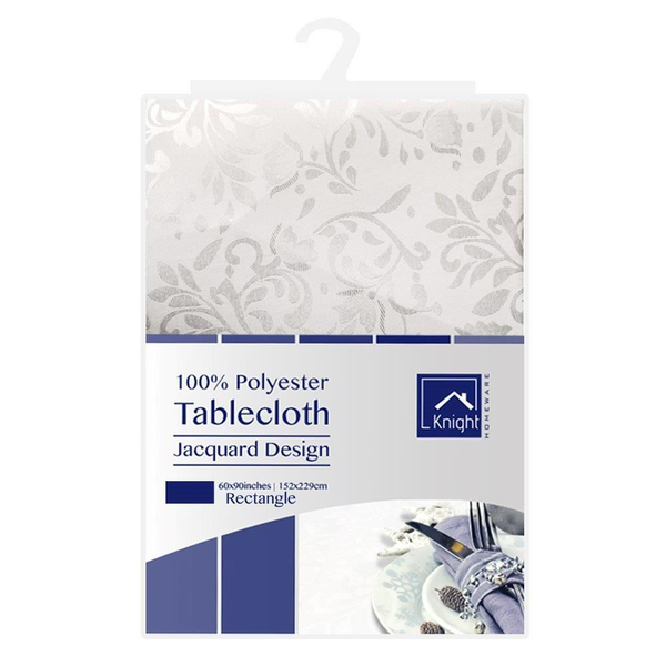 152cmx229cm white rectangle polyester dining tablecloth jacquard
