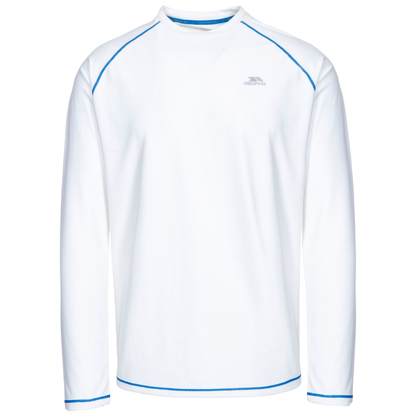 Trespass mens burrows long sleeve active top white uttp4559