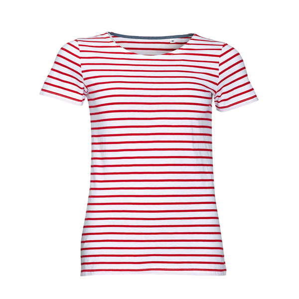 Unbranded Sols womens/ladies miles striped short sleeve t-shirt white/red