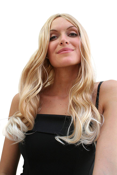 Sexiest lady wig very long mixed blond platinum slighty wavy end
