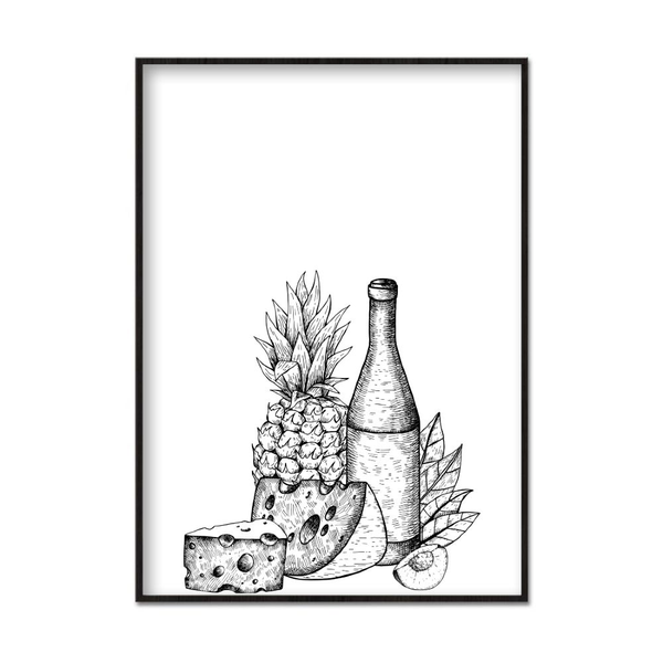 Poster A3 30x42cm Wine and Cheese Vit