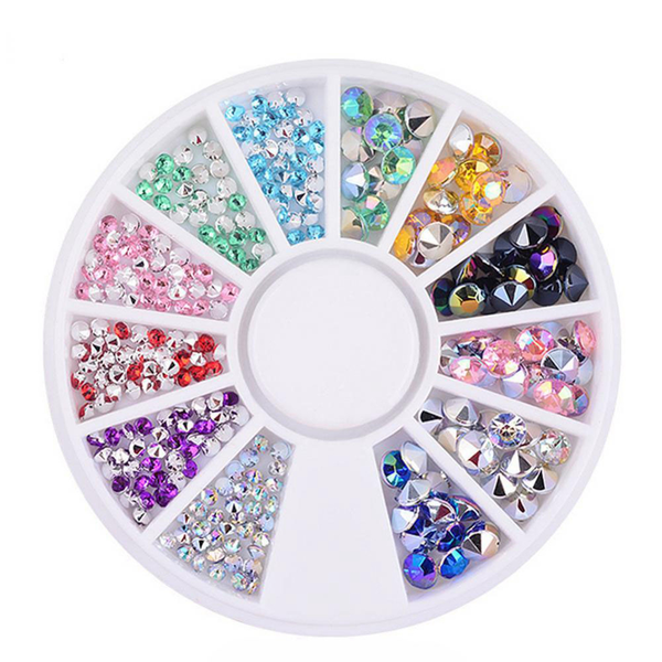 Acrylic colorful ab drills steeple decoration diy nail art m