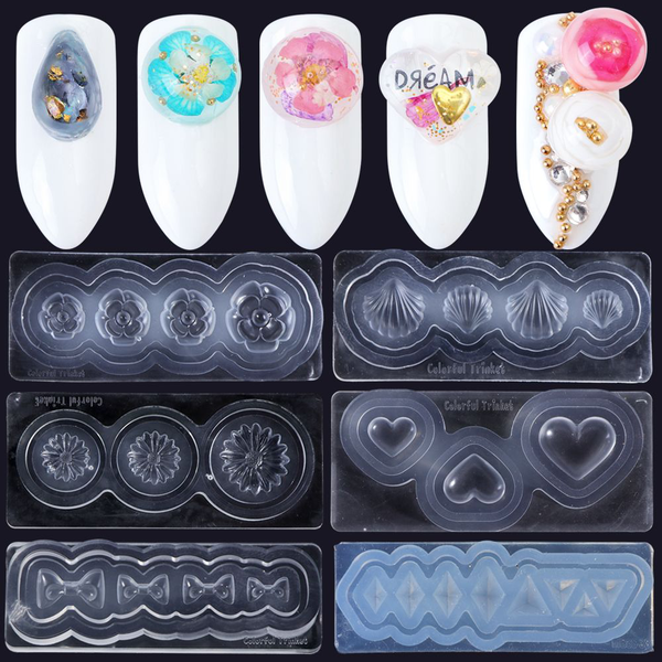Nail art silicone mold 3d carving diy manicure