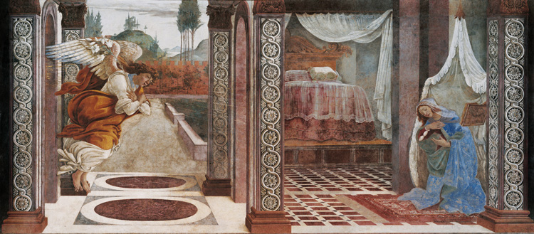 Annunciation of San Martino alla Scala,Sandro Botticelli,80x40cm