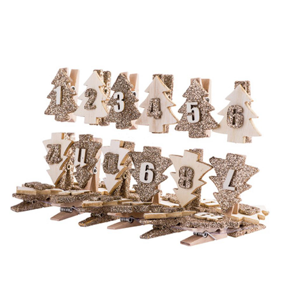 Christmas tree wooden advent pegs gold and wood 1 – 24 diy ca…