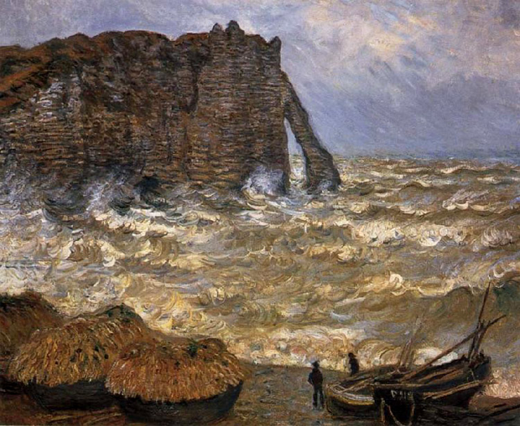 The The The Cliff at Etretat after a Storm,Claude Monet,50x40cm 2b3776