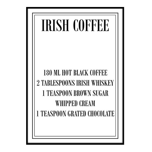 Poster - Irish Coffee recept 40x50cm