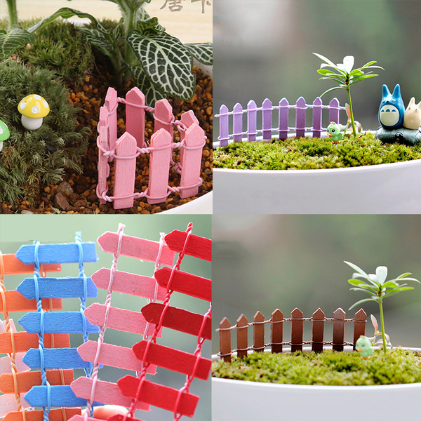 Wood fence palisade miniature fairy garden home houses decoratio