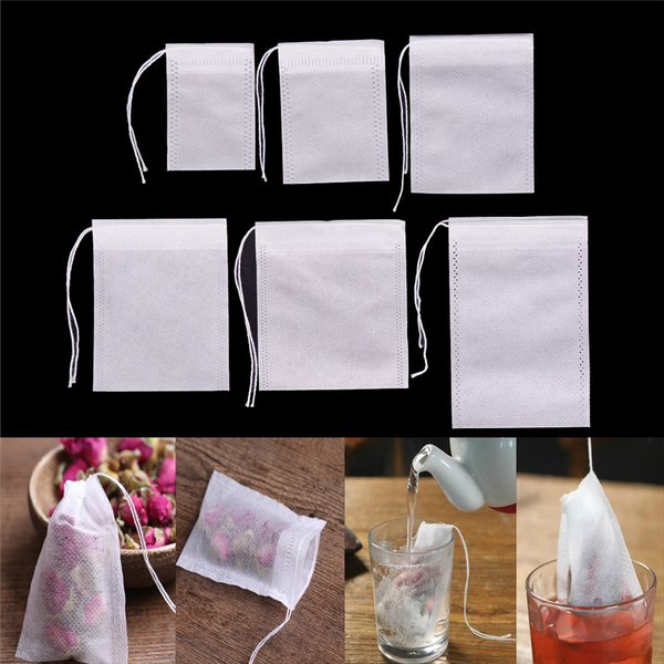 100pcs non-woven empty teabags string heat seal filter paper her