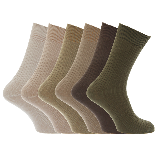 Unbranded Mens 100% cotton ribbed classic socks (pack of 6) brown/beige/ol