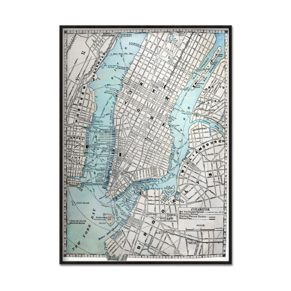 Poster A4 21x30cm Map New York