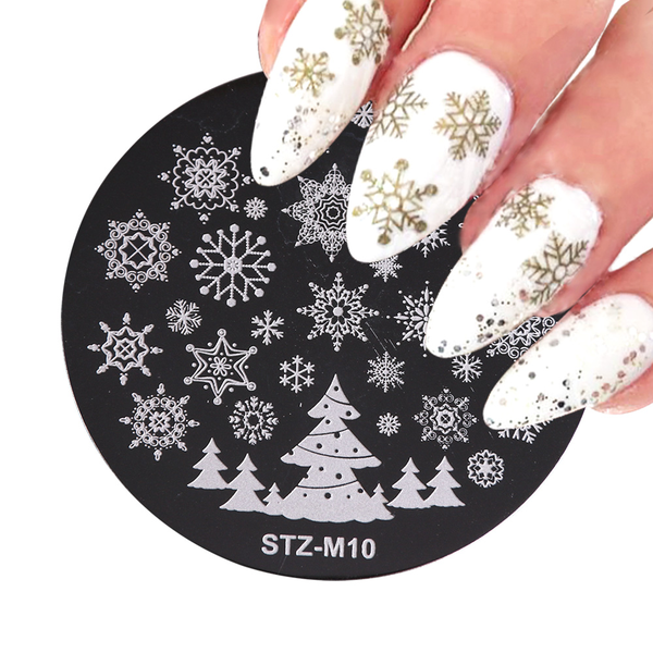 Round nail art template stamping plates stamp stencil christmas