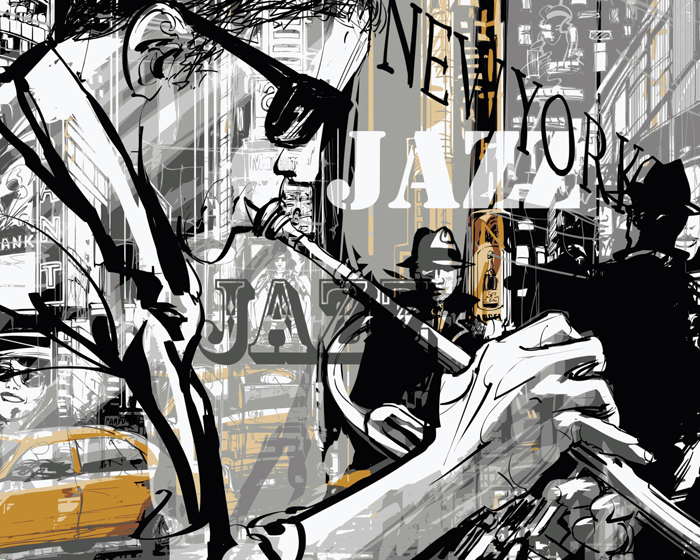Poster Illustration jazz, 50x70 cm
